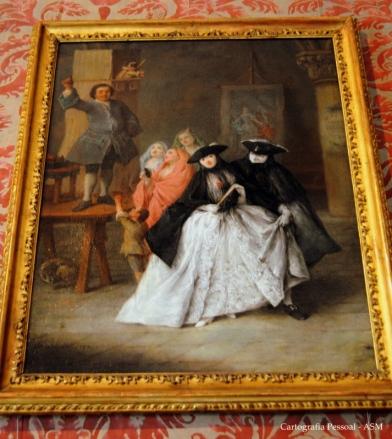 """Neste quadro de Pietro Longhi, """"O charlatão"""", que eu vi no museu de Ca`Rezzonico vê-se muito bem a Bauta."""