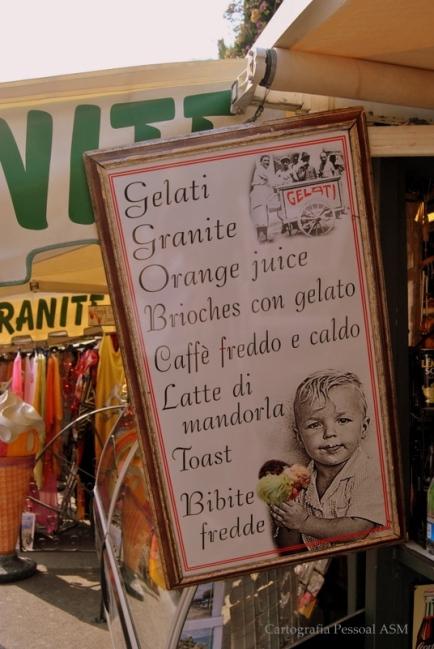 O menu de combate ao calor. Em Taormina.